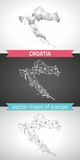 Kroatien-Satz Grau und polygonale Karten des Silbermosaiks 3d Stockfoto