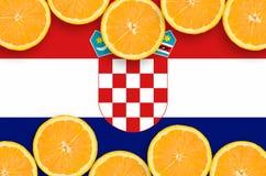 Kroatien sjunker i citrusfruktskivahorisontalram arkivbilder