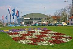 KROATIEN ZAGREB, 19 MARS 2016: Vatroslav Lisinski konserthall a Royaltyfria Bilder