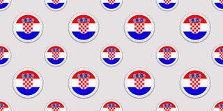 Kroatienbakgrund Sömlös modell för kroatisk flagga Runda symboler för vektor Geometriska cirkelsymboler Textur för språkkurser, s vektor illustrationer