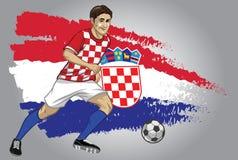 Kroatienfotbollspelare med flaggan som en bakgrund Arkivfoton