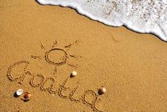 Kroatientecken på stranden Arkivfoto