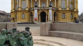 Kroatisch Nationaal Theater in Zagreb stock video