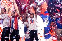 Kroatisch team die naar huis na definitief FIFA 2018 komen Royalty-vrije Stock Foto's