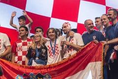 Kroatisch team die naar huis na definitief FIFA 2018 komen Stock Foto