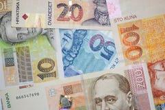 Kroatische de bankbiljettenachtergrond van muntkuna Stock Fotografie