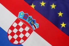Kroatische & de EU-vlag royalty-vrije stock foto's