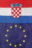 Kroatische & de EU-vlag samen royalty-vrije stock afbeelding