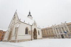 Kroatische Kerk van St Teken in Zagreb in de winter Royalty-vrije Stock Foto