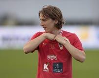 Kroatische voetballer Modric stock fotografie
