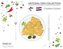 Kroatisk kokkonst Europeisk nationell maträttsamling Pag-ost royaltyfri illustrationer