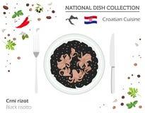Kroatisk kokkonst Europeisk nationell maträttsamling Svart risot royaltyfri illustrationer