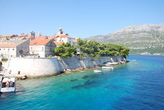 Kroatisk kust, KorÄ ula Royaltyfri Bild