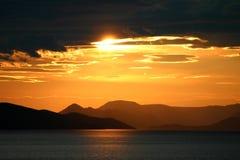 kroatisk solnedgång Fotografering för Bildbyråer