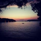 kroatisk solnedgång arkivfoton