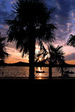 kroatisk solnedgång Royaltyfria Bilder