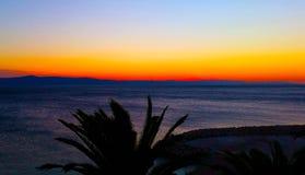 kroatisk solnedgång Arkivfoto