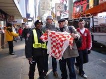Kroatiska fotbollfans i New York Royaltyfria Bilder