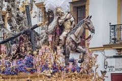 Kroczy tajemnicę bractwo nadzieja Triana, wielkanoc w Seville Zdjęcie Stock