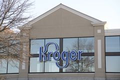 Kroger Food Market Sign. A Kroger food industries grocery store where shoppers can pick up food and other household items royalty free stock images