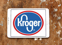 Kroger stores logo. Logo of kroger stores on samsung  tablet on wooden background Royalty Free Stock Image