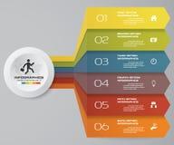 6 kroków Infographics elementu mapa dla prezentaci arrowed Zdjęcia Stock
