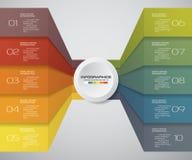 10 kroków Infographics elementu mapa dla prezentaci arrowed Fotografia Royalty Free