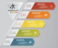 5 kroków Infographics elementu mapa dla prezentaci arrowed Zdjęcie Royalty Free