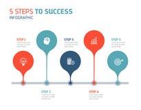 5 kroków sukces Infographics royalty ilustracja