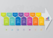7 kroków sztandaru Infographic strzałkowaty element dla prezentaci zdjęcia stock
