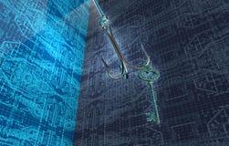 Krok för fiske för Phising digital säkerhetsbegrepp i digitala enviromen Royaltyfria Foton