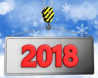 krok för kran 3d med rött tecken 2018 Arkivfoto
