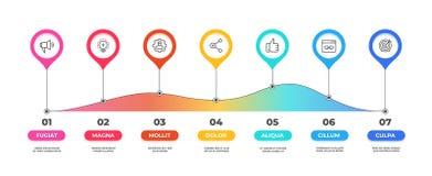 Krok infographic Opcji linia czasu diagram, biznesowej grafiki mapa, obieg prezentacji szablon Wektoru 7 kroków przepływ royalty ilustracja