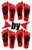 Krok po kroku emblemat dla obieg prezentaci Zdjęcie Stock