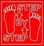 Krok po kroku emblemat dla obieg prezentaci z odciskami stopy na czerwonym tle Nowożytny płaski projekt Zdjęcie Royalty Free