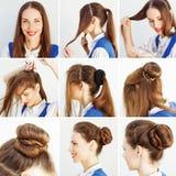Krok Po Kroku fryzura pomysł dla blogu Fotografia Royalty Free