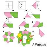 Krok po kroku instrukcje dlaczego robić origami bożych narodzeń wiankowi Zdjęcia Royalty Free