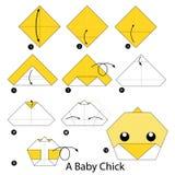 Krok po kroku instrukcje dlaczego robić origami dziecka kurczątka Fotografia Royalty Free