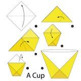 Krok po kroku instrukcje dlaczego robić origami filiżanka Zdjęcie Royalty Free