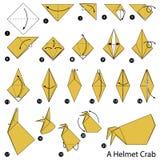 Krok po kroku instrukcje dlaczego robić origami hełma kraba Zdjęcia Stock