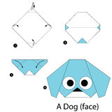 Krok po kroku instrukcje dlaczego robić origami Psiemu (twarz) Fotografia Stock