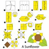 Krok po kroku instrukcje dlaczego robić origami słonecznika obrazy stock