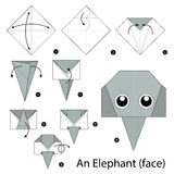 Krok po kroku instrukcje dlaczego robić origami słonia Fotografia Stock
