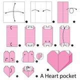 Krok po kroku instrukcje dlaczego robić origami sercu wkładać do kieszeni Obrazy Stock