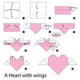 Krok po kroku instrukcje dlaczego robić origami sercu z skrzydłami Obraz Stock