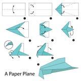 Krok po kroku instrukcje dlaczego robić origami Tapetują samolot Obraz Stock