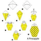 Krok po kroku instrukcje dlaczego robić origami ananasa Fotografia Royalty Free
