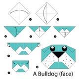 Krok po kroku instrukcje dlaczego robić origami buldoga (twarz) Obraz Royalty Free