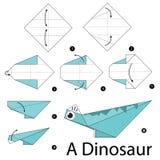 Krok po kroku instrukcje dlaczego robić origami A dinosaura Zdjęcia Royalty Free