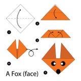 Krok po kroku instrukcje dlaczego robić origami Fox Obrazy Stock